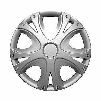 "15"" 15 Inch Car Van Wheel Trims Hub Caps Covers & Fixing Rings Silver X 4"