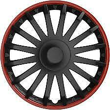 "15"" 15 Inch Car Van Wheel Trims Hub Caps Covers & Fixing Rings Black & Red Trim"