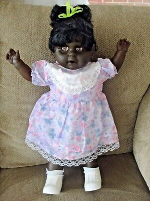 "Vintage 22"" Black African Am. Vinyl/Cloth Doll Eyes Open/Close Cries Smoke Free"