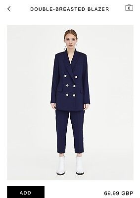 Zara double breasted blazer Blue Bnwt Size L SOLD OUT ONLINE