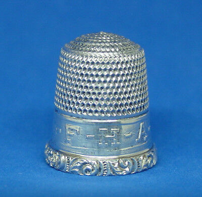 RARE SIMONS F.H.A. STERLING SILVER THIMBLE FUTURE HOMEMAKERS OF AMERICA c1940S
