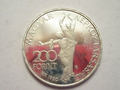 1980 Hungary Silver  200 Forint, Lake Placid Olympics Commemorative