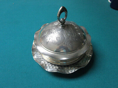 Antique Hartford Covered Silverplate Bowl Domed Butter Dish [*Met6]