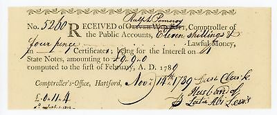 1789 11s 4d - Comptroller's Office CONNECTICUT Interest Payment Certificate CU