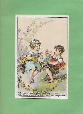 Lovely GIRLS HOLD FLOWERS On PYLE'S PEARLINE SOAP Victorian Trade Card