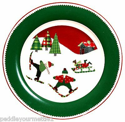 (1) Target Home Dinner Plates Patchwork Children Skiing and Sledding 11  EUC  sc 1 st  PicClick CA & TARGET HOME DINNER Plates Floral Flower Red Rim Bone Lot of four ...