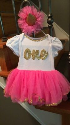 Mudpie Baby Girl ONE Birthday Dress Pink Tutu And Gold First Outfit