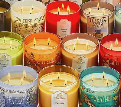BATH AND BODY WORKS 2018 3 Wick Candle NEW FALL AUTUMN PUMPKIN HALLOWEEN SCENTS