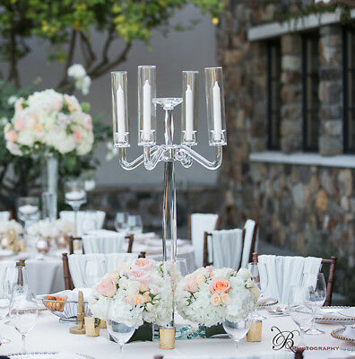 """BRAND NEW 35"""" Beautiful Imported Crystal Candelabra 5 Light - Perfect Wedding"""