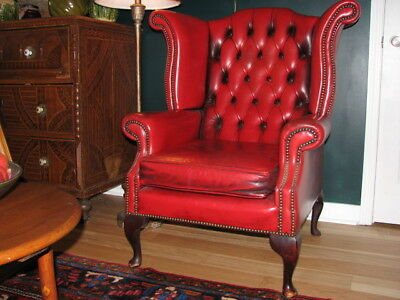 Another Stunning Red English Tucked Leather Wingback Chair