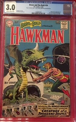 BRAVE AND THE BOLD #34 1st Silver Age Appearance HAWKMAN HAWKGIRL CGC 3.0 GD/VG