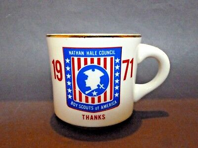 Vtg 1971 Boy Scouts of America Nathan Hale Council CT Coffee Cup Mug Conn Rivers