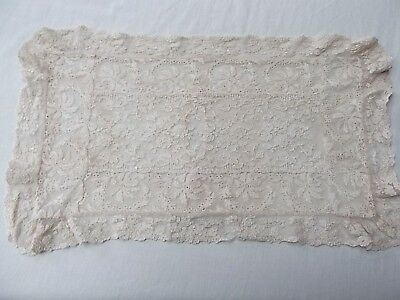 Vtg antique Brussels French Normandy lace beige pillow case cover 18in x 10in