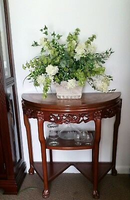 Antique Chinese Rosewood Half Moon Marble Top Table
