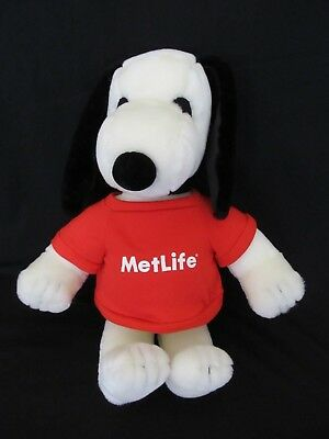 "Snoopy 20"" Metlife Large Plush Red Shirt Stuffed Animal Peanuts Dog"