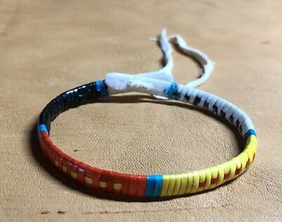 One Nice Neat Native American Lakota Sioux Quilled Bracelet Quilled On Rawhide