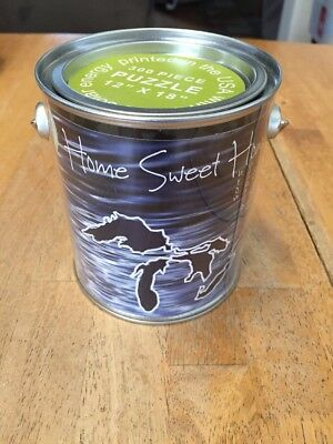 """HOME SWEET HOMES Michigan puzzle in a can/pail NEW 300 Piece 12"""" X 18"""""""