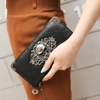 Luxury Ladies Long Design Zipper Bag Wallet Purse Clutch Skull Purse Chic 8C