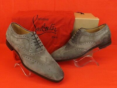 af296d9be45 Nib Louboutin Platterissimo Grey Suede Wingtip Lace Up Oxfords Brogue Shoes  42 9