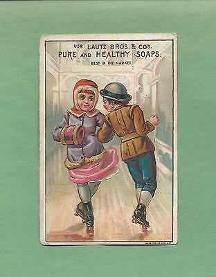COUPLE ROLLERSKATING On LAUTZ BROS. SOAP Victorian Trade Card--ST. LAWRENCE, NY