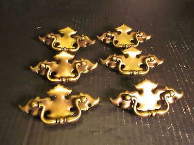 """Chippendale Drawer Pulls Vintage Brass Handle Tin Back Plate 4.25"""" Lot of 6"""