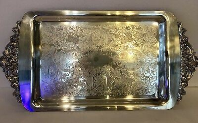 Wallace Baroque Silverplate 719 Serving tray 17 inches length Bread Apps SAZ