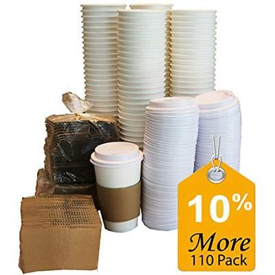 Cups Paper Coffee Hot With Lids And Sleeves, 16-Ounce White (110-Pieces)