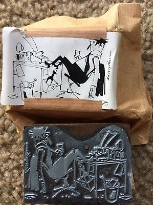 VTG  Harvey Johnson LA Mirror News Cartoon Comics Drawing Metal Printing Plate
