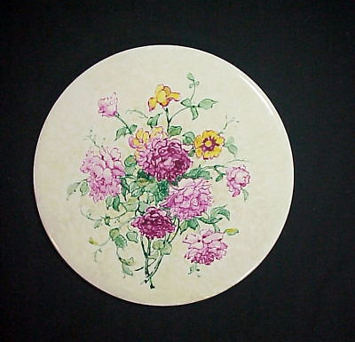 JAN NOSEK Listed LENOX Artist HANDPAINTED FLOWERS PORCELAIN TILE Artist's Estate