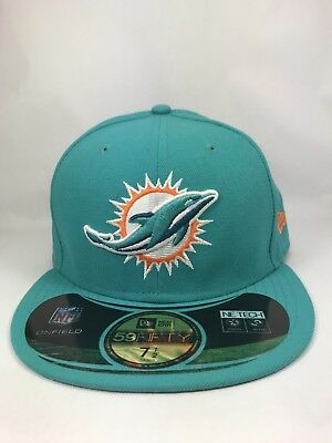 best service 147c2 30bc3 Miami Dolphins New Era NFL On Field 59Fifty Fitted Hat Aqua NWT 7 1 2