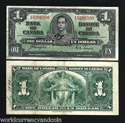 Canada 1 Dollar P58E 1937 King George Vi Scarce Coyne/towers Currency Money Note