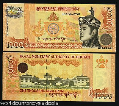 Bhutan 1000 1,000 Ngultrum 2008 New King Palace Unc Currency Money Bill Banknote