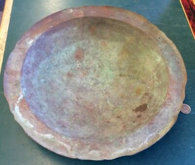 "Rare & Unique Vintage Antique Hand Made In Chile  Solid Copper 11"" Bowl"