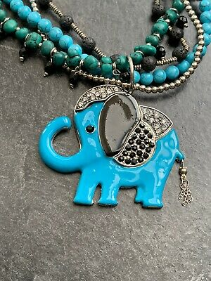 Enamel Elephant Necklaces / Pendant Rhinestone with four strands PRETTY beads