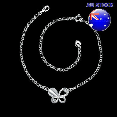 Wholesale 925 Sterling Silver Filled Cubic Zirconia Butterfly Anklet Ankle Chain