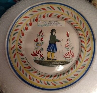 Early 1900s Henriot Quimper  9 1/4 plate Peasant Man red/green motif