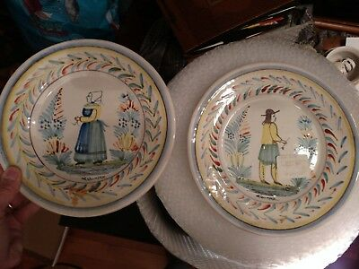 PAIR Henriot Quimper faience plates from private gallery collection
