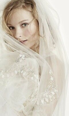 Davids Bridal Ivory Two Tier Scallop Beaded Edge Cathedral Veil New W/tags $349