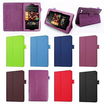 PU Leather Shell Fold Case Cover For Amazon Kindle Fire HD 7 Inch Tablet 2015 TR
