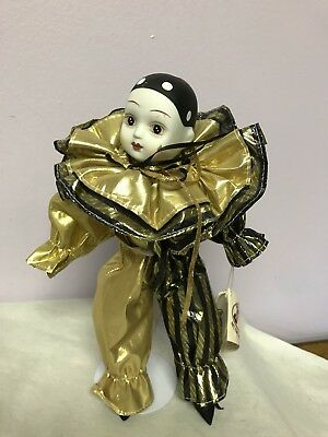Black/Gold Porcelain Musical Clown Doll From San Francisco Music Company