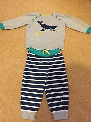 Mini Boden Baby Boys Outfit Whale Jumper and Bottoms Size 6-12 Months