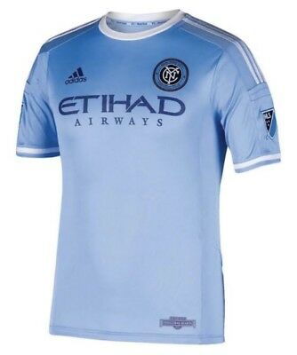 best sneakers fb3c1 8540a ADIDAS MLS New York City FC Blue S S Home Authentic Soccer Jersey NEW Mens