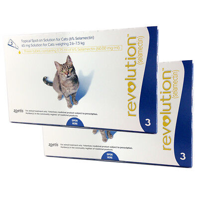 Revolution for Large Cats 2.6-7.5 kg Blue 6 Pack Genuine by Zoetis EXP 01-2021