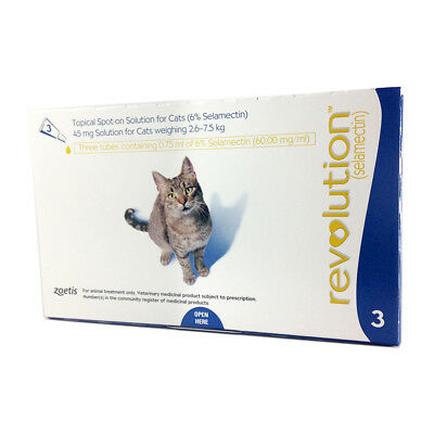 Revolution for Large Cats 2.6-7.5 kg Blue 3 Pack Genuine by Zoetis EXP 01-2021