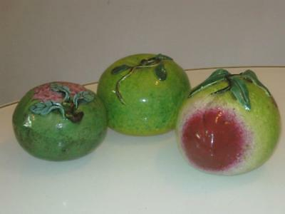 3 Stunning Vintage Chinese Glazed Pottery Pieces Of Fruit