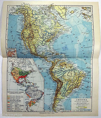 Original 1924 German Physical Map of the America's