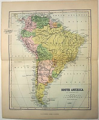 Original Map of South America by W&R Chambers 1868. A Stone Chromo-Lithograph