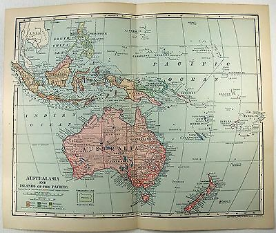 Original 1902 Dated Map of Australasia & the Pacific Islands by Dodd Mead
