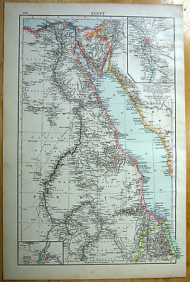 Original 1896 Map of Egypt by Velhagen & Klasing