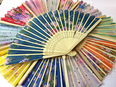 Chinese Folding Bamboo Original Wooden PRINTED Hand Fan fit Wedding Party Summer